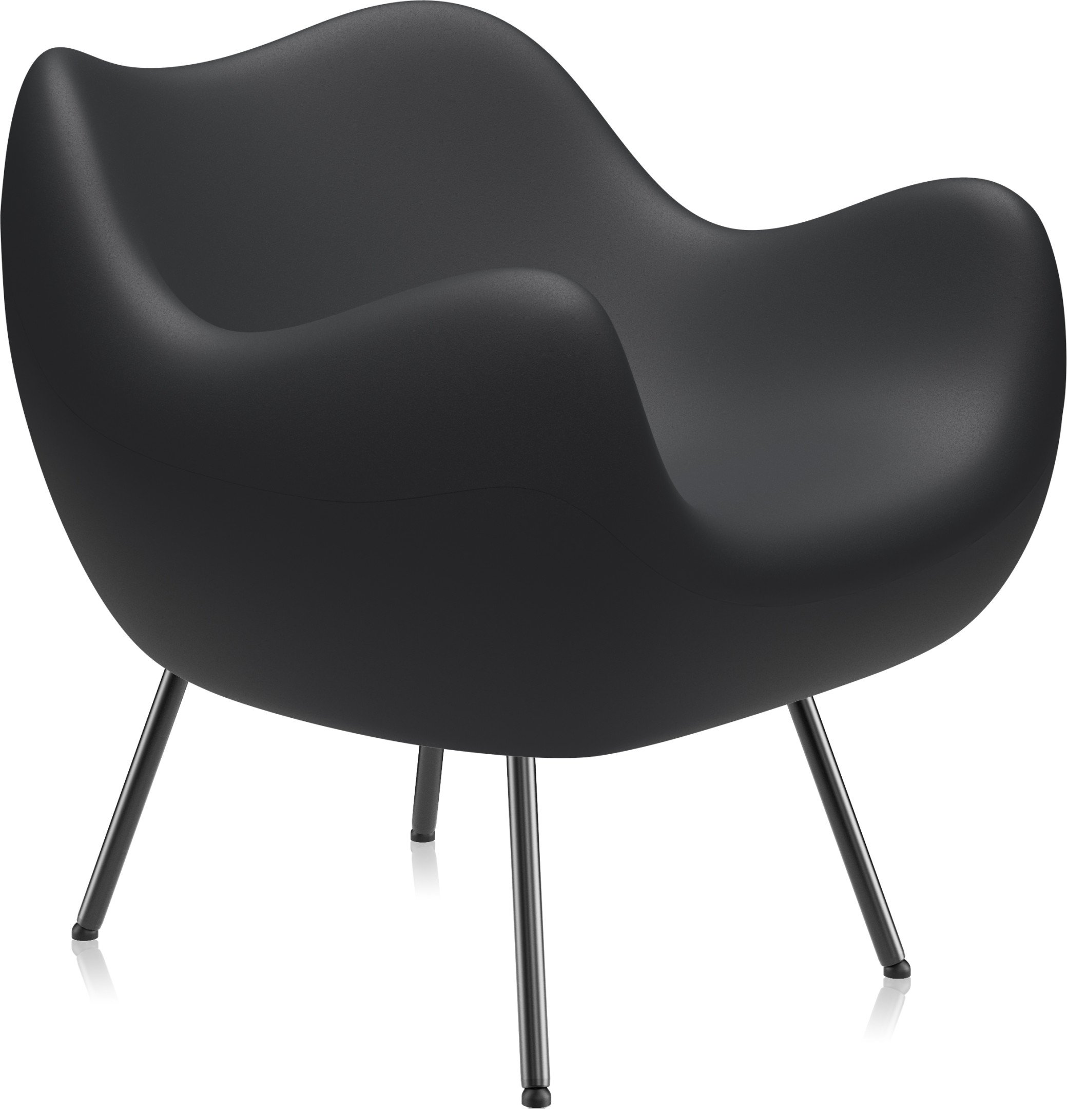 RM58 Armchair Matte Black by R. Modzelewski for VZÓR, 1950s