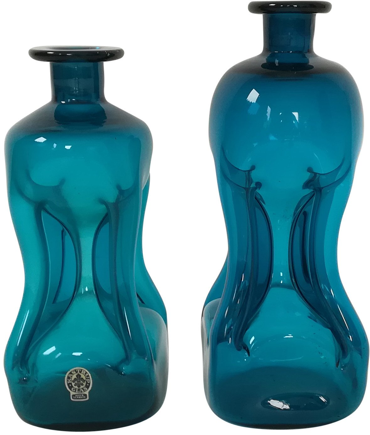 Pair of Carafes by J. Bang for Kastrup Glass, Denmark, 1960s
