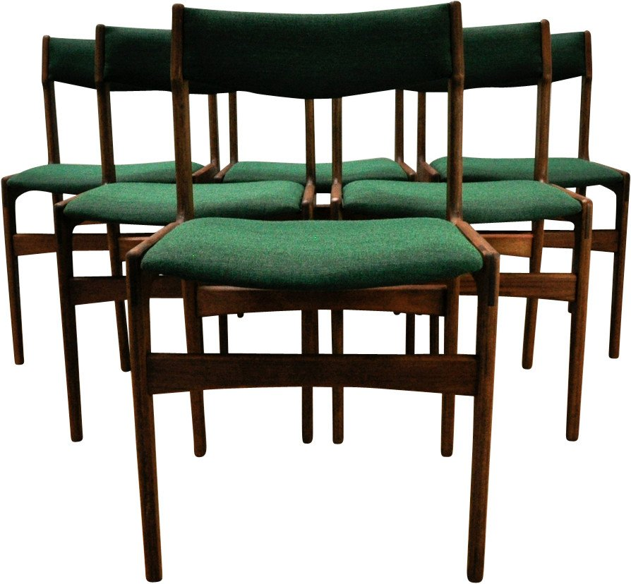 Set of Six Chairs by E. Buch, Denmark, 1950s