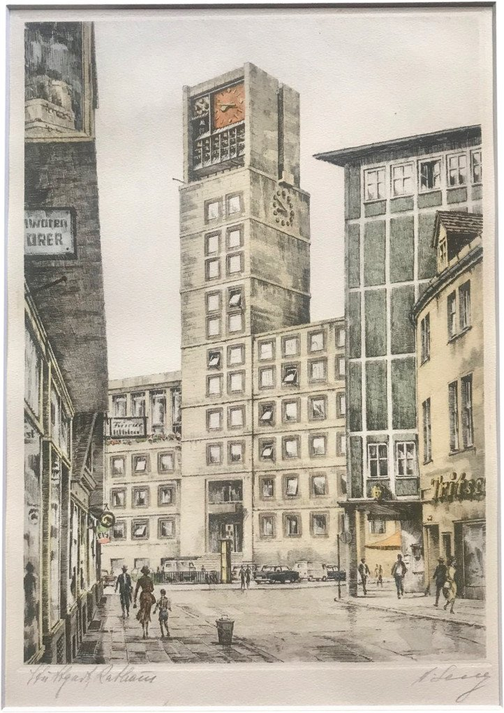 Watercolor - town hall in Stuttgart, Germany, 1940s