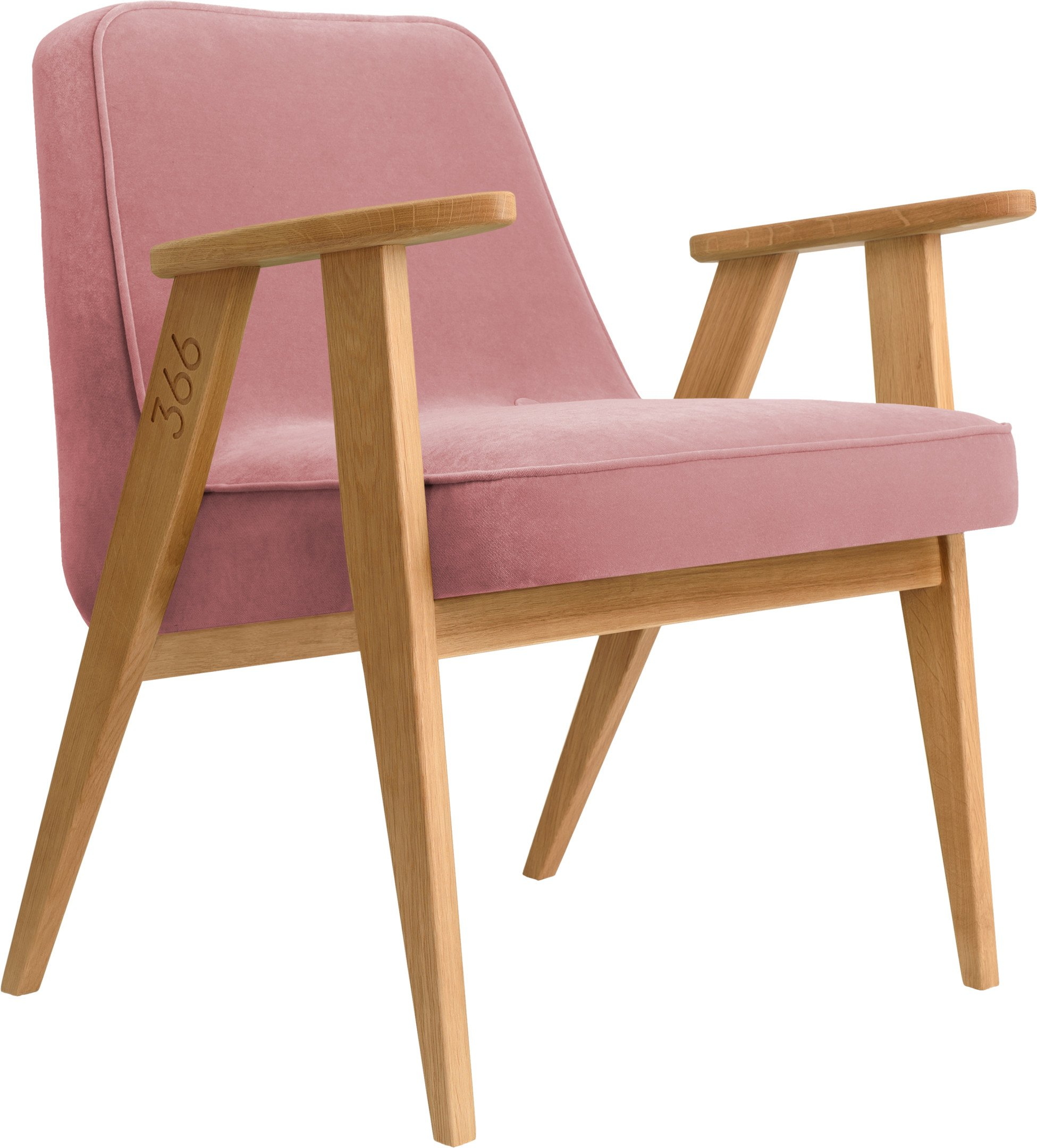 366 Armchair by Józef Chierowski, Velvet Powder Pink (light oak)