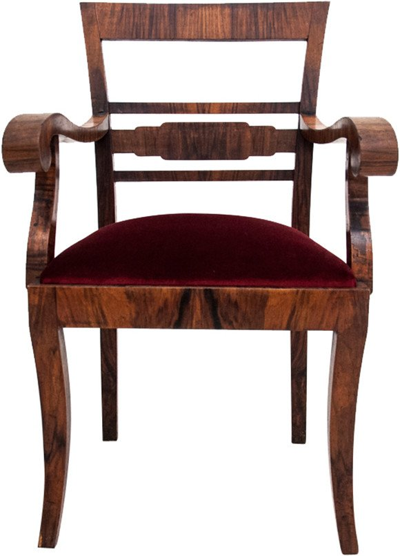 Walnut Wood Armchair, early 20th C.