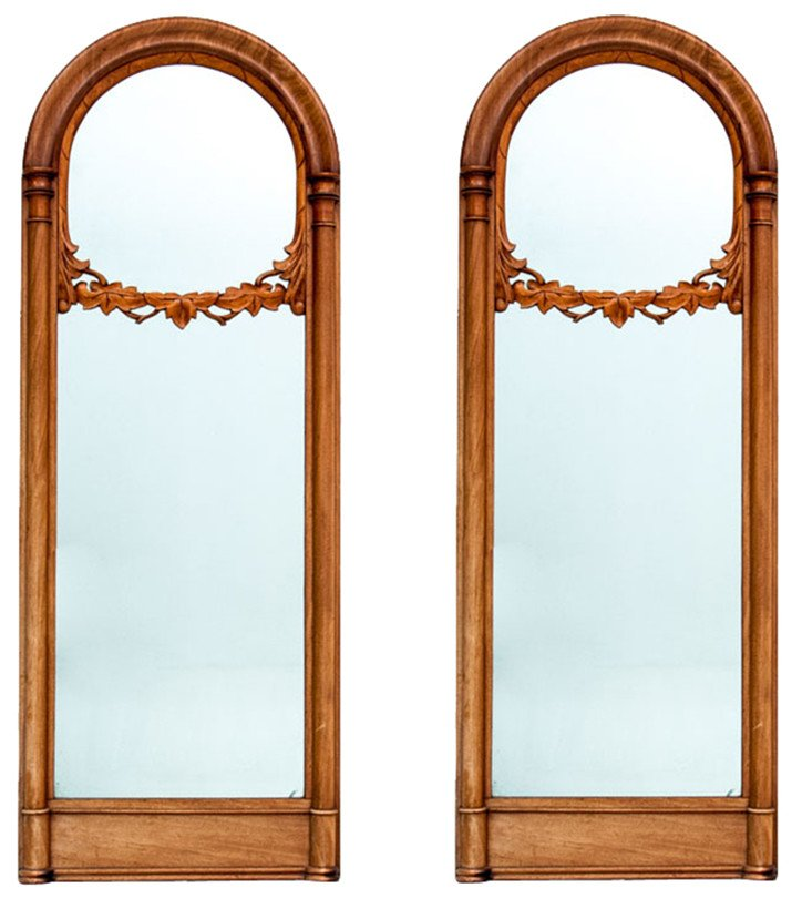 Pair of Mirrors in a Mahogany Frame, 19th C.