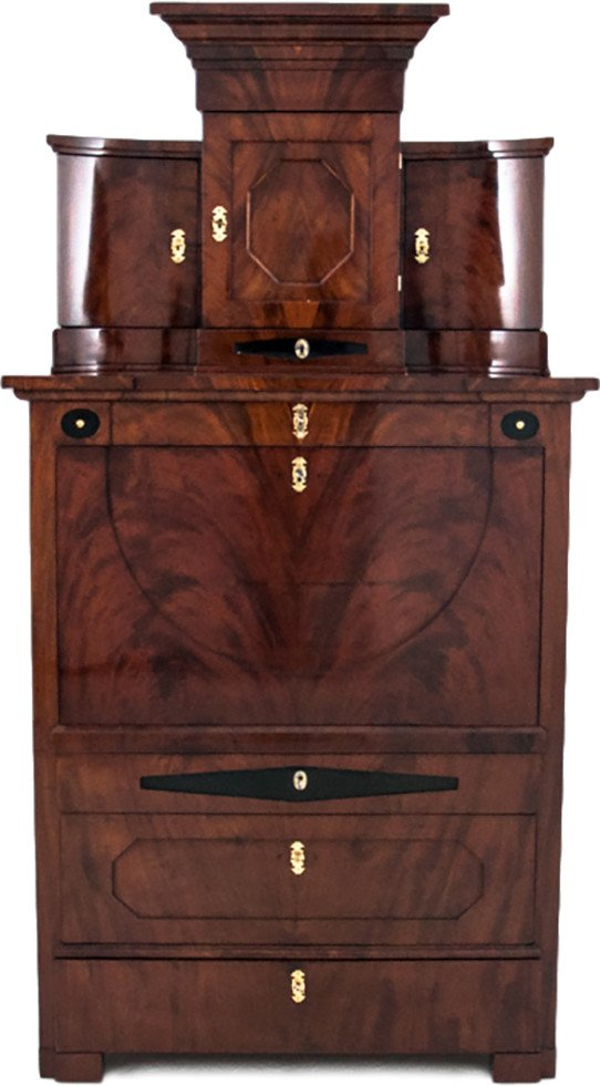 Secretaire made of Mahogany and Maple Wood, 19th C.