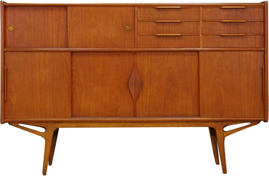 Highboard tekowy, Dania, lata 70.