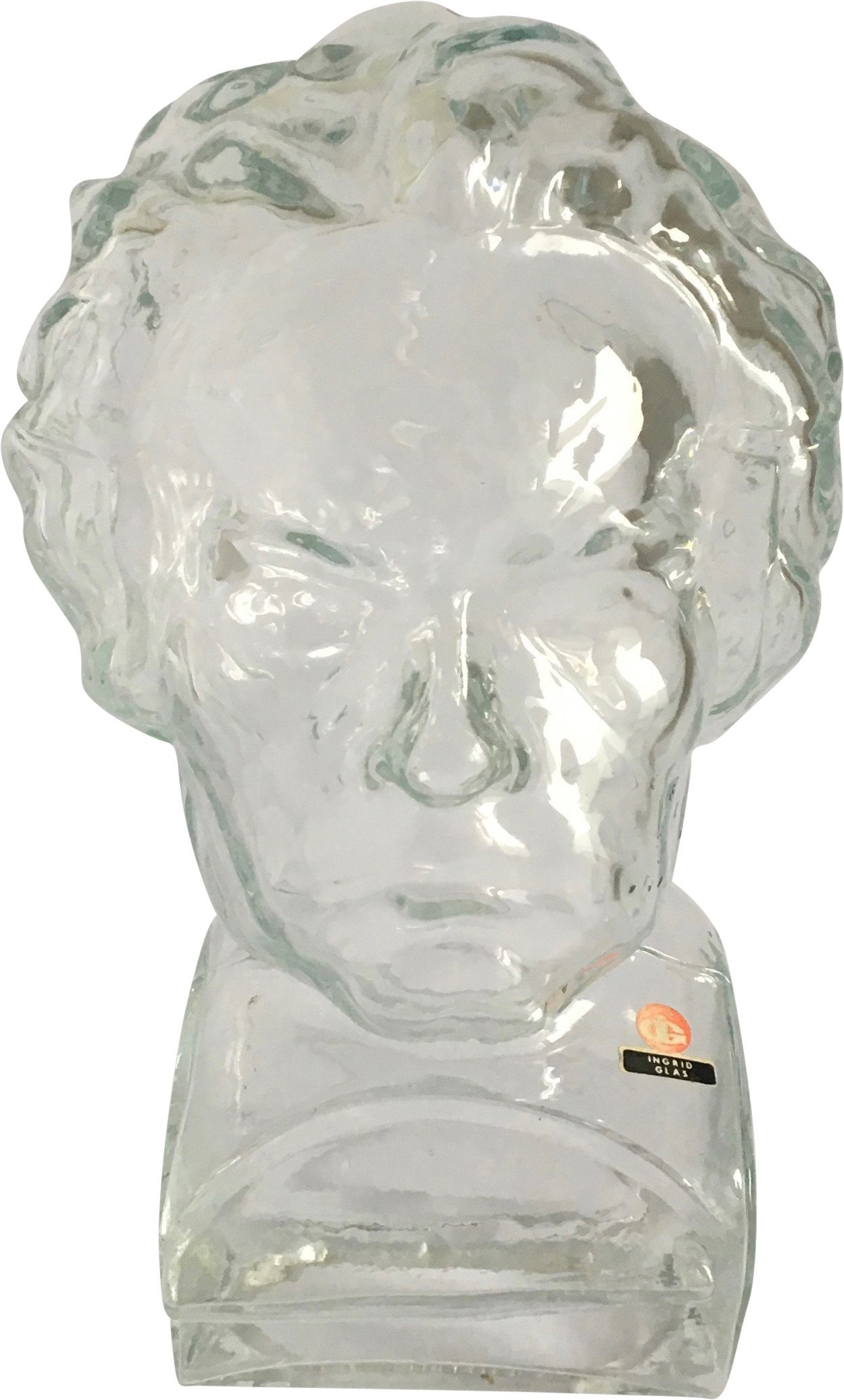 Glass Bust of Beethoven, Ingrid Glashutte, Germany, 1970s