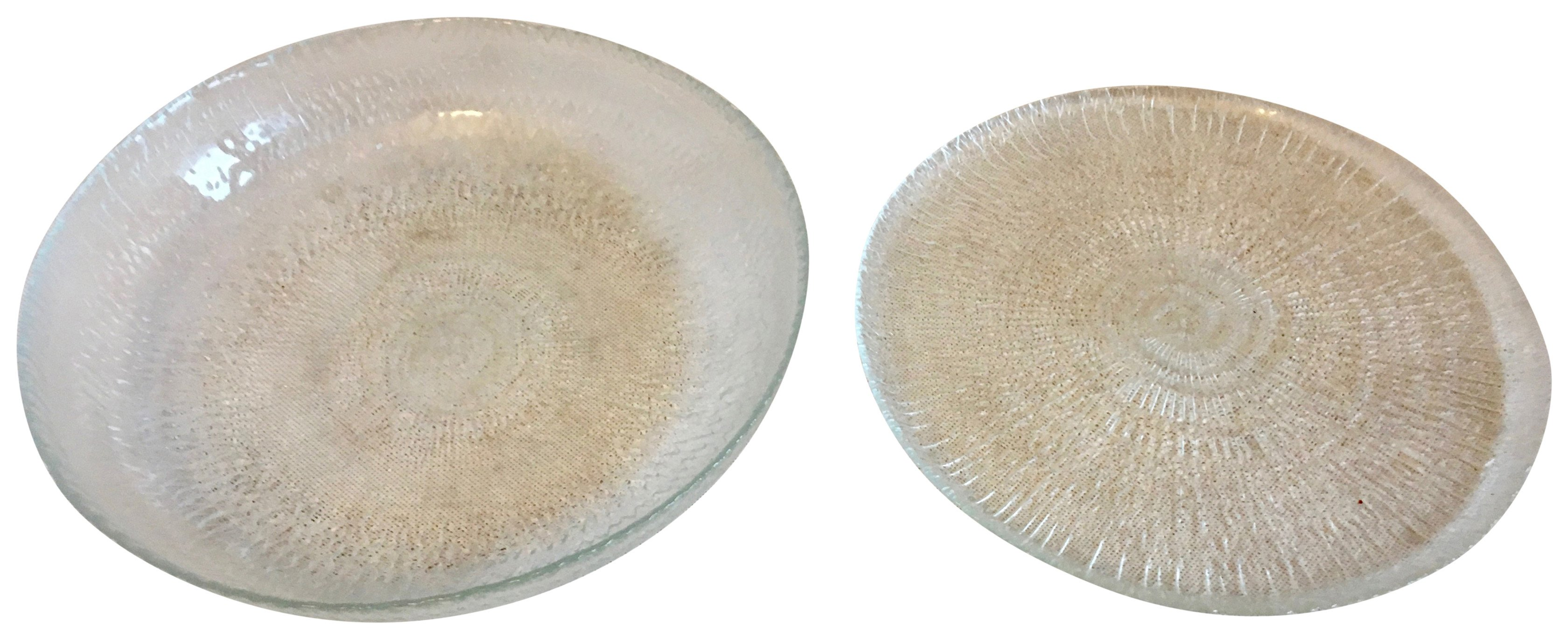 Pair of Pedestal Plates, Sklo Union, 1970s
