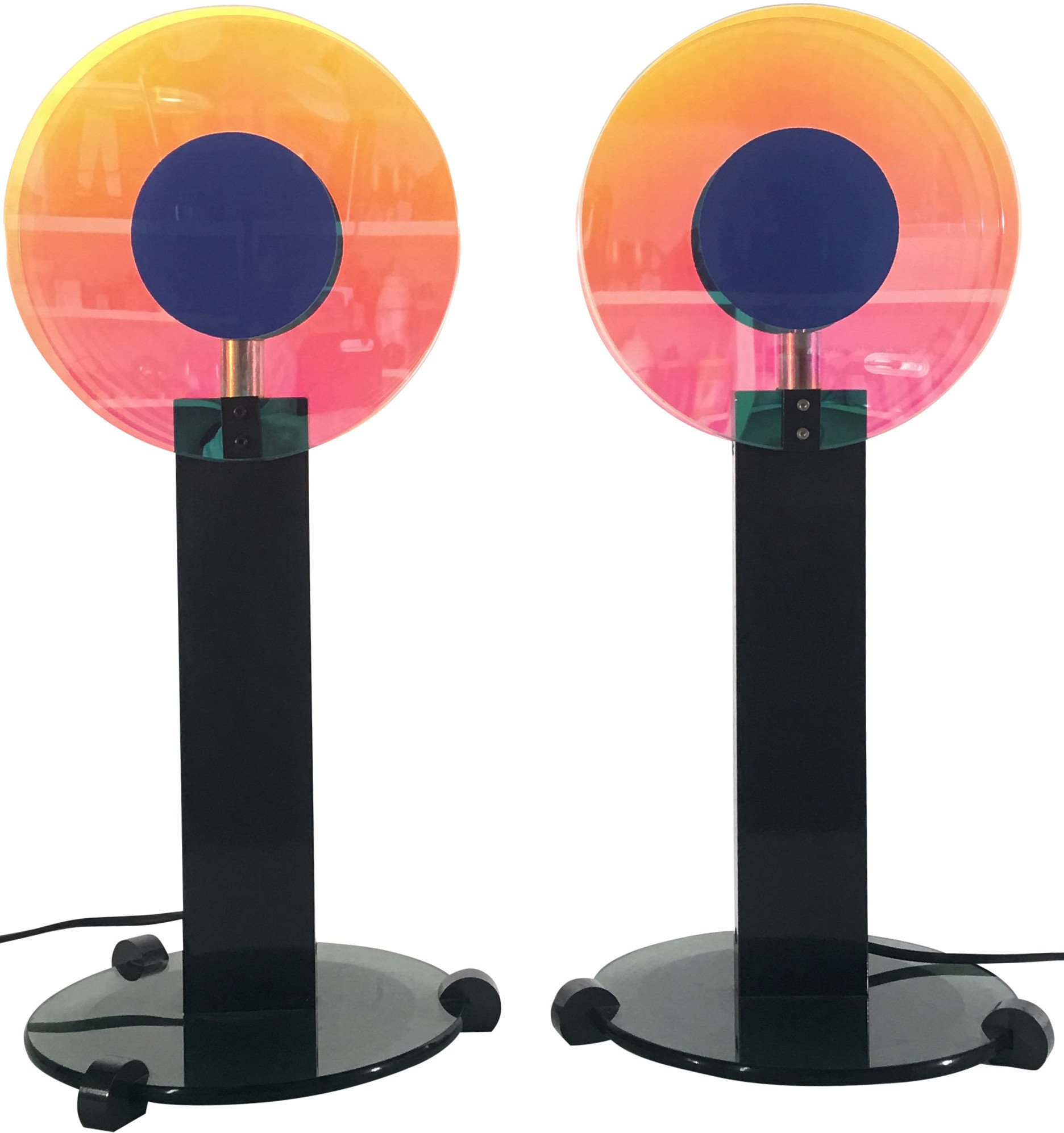 Pair of Table Lamps, Disco Blue Targetti, 1980s