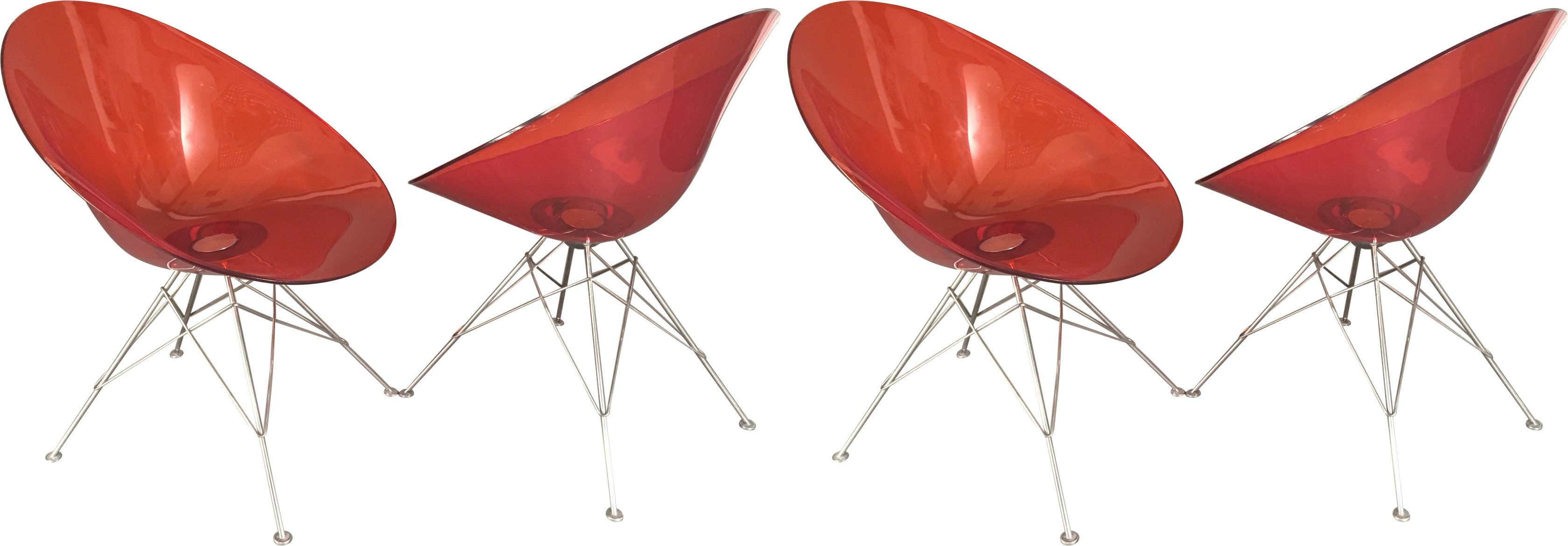 Set of Four Chairs model Eros, by P. Starck, Kartell, 1990s