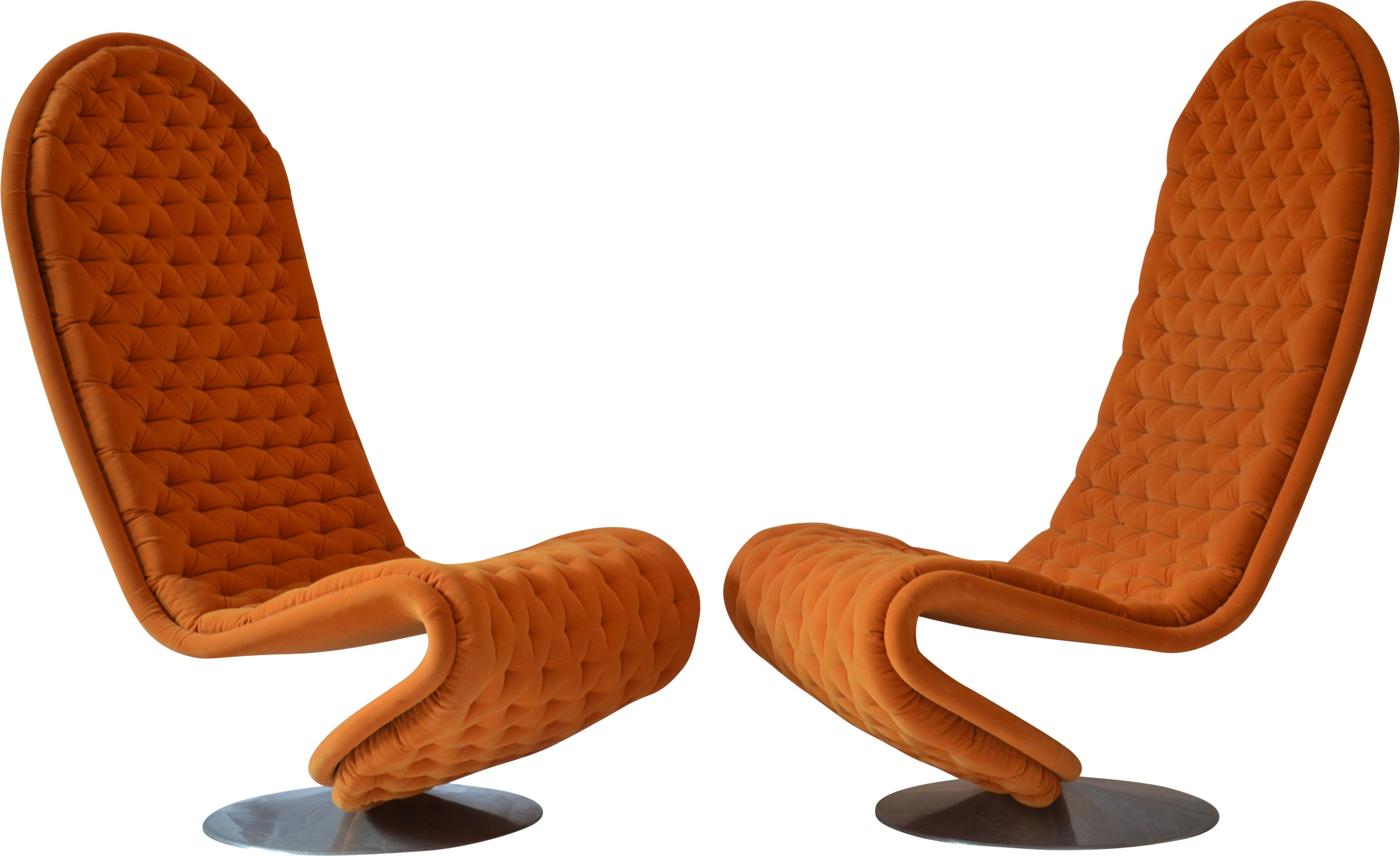 A pair of 1-2-3 armchairs, by V. Panton for Fritz Hansen, 1974s