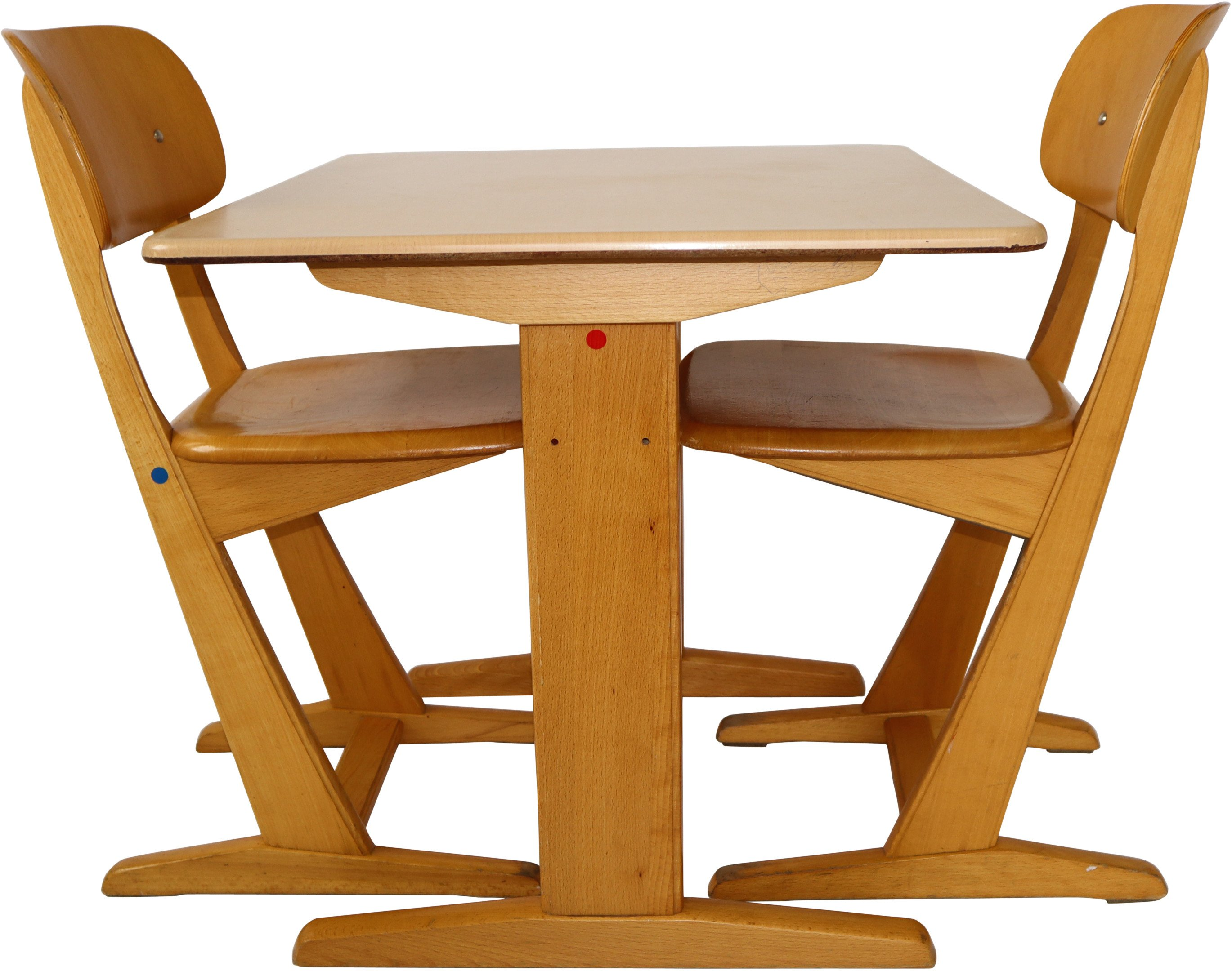 Children's School Desk with Two Chairs, 1970s