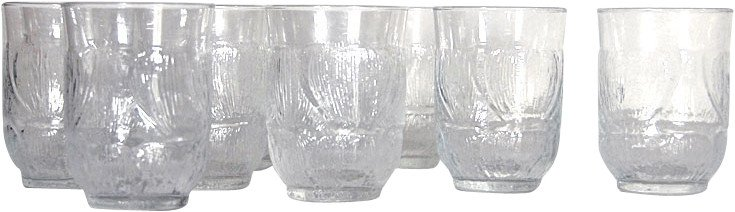 Set of Nine Glasses, Orrefors, Sweden, 1970s