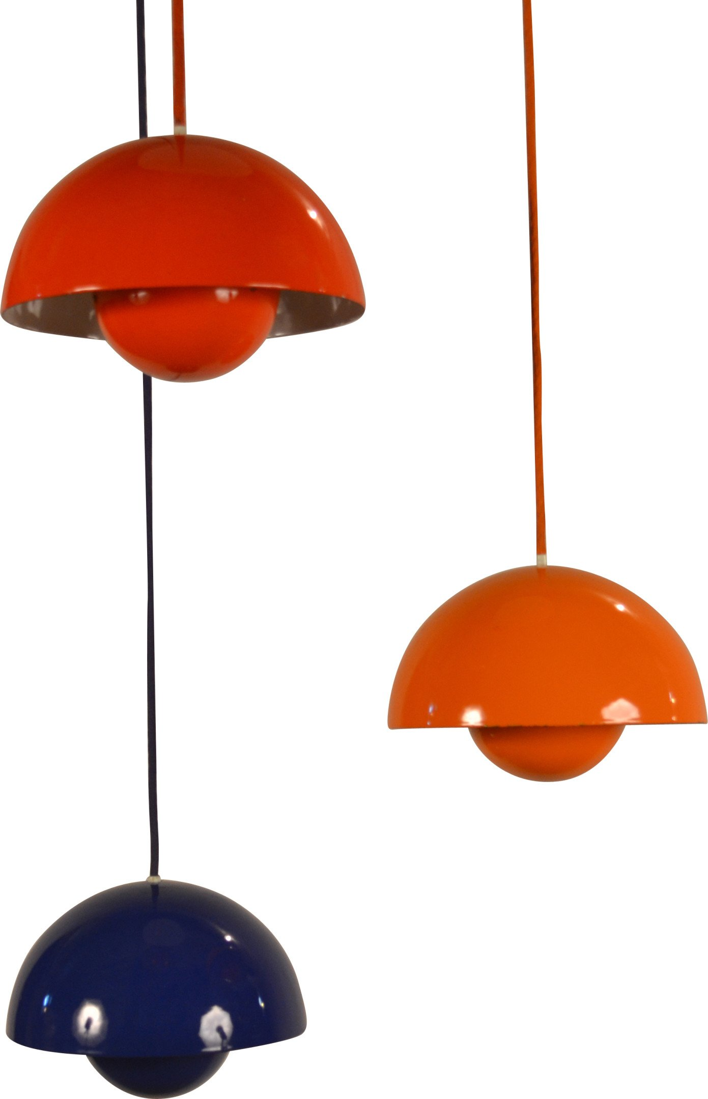 Set of Three Ceiling Lamps Flowerpot by V. Panton, 1960s