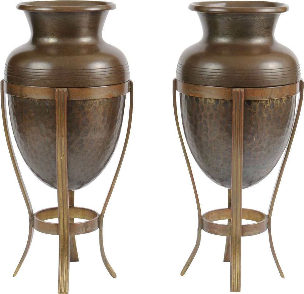 Pair of Brass Vases, early 20th C.