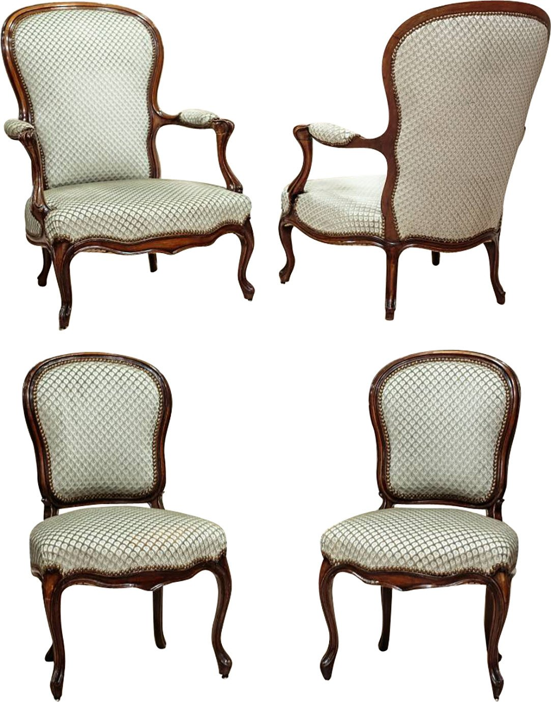 Pair of Armchairs and Pair of Chairs, end of 19th C.