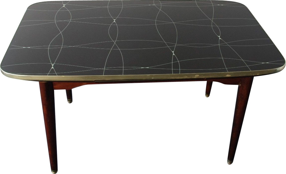 Table with Black and Gold Painted Glass, 1950s