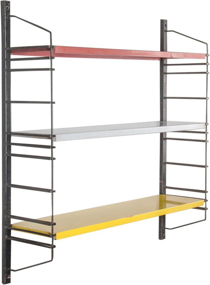 Tricolour Metal Modular Shelf, Netherlands, 1960s