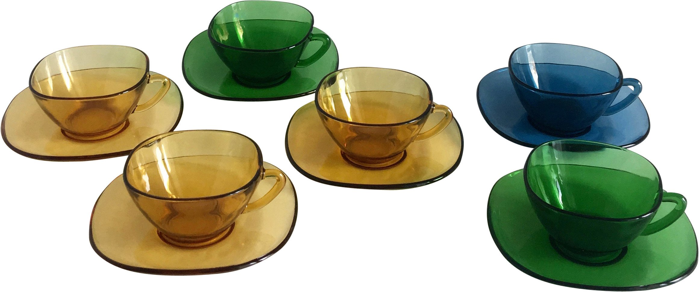 Set of Six Vereco Glass Cup, France, 1970s