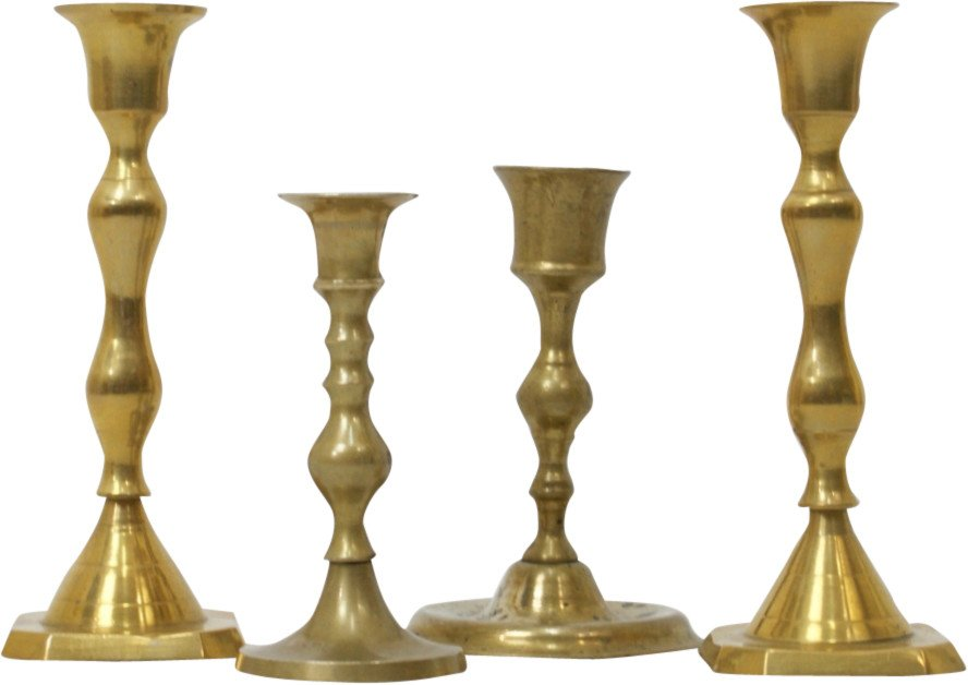 Set of Four Brass Candleholders, 1960s