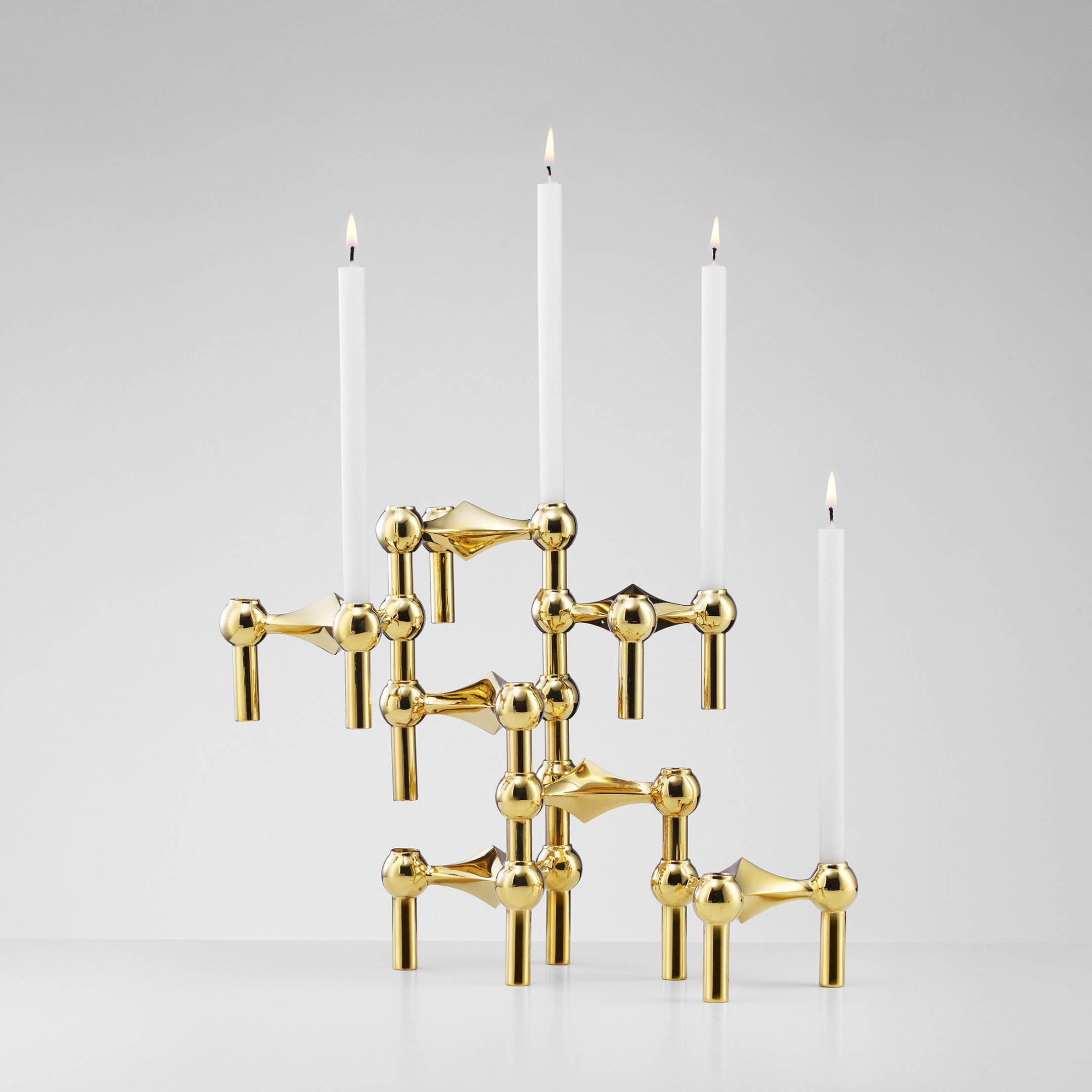 Set of Three Brass Candle Holders by W. Stoff & H. Nagel, Stoff