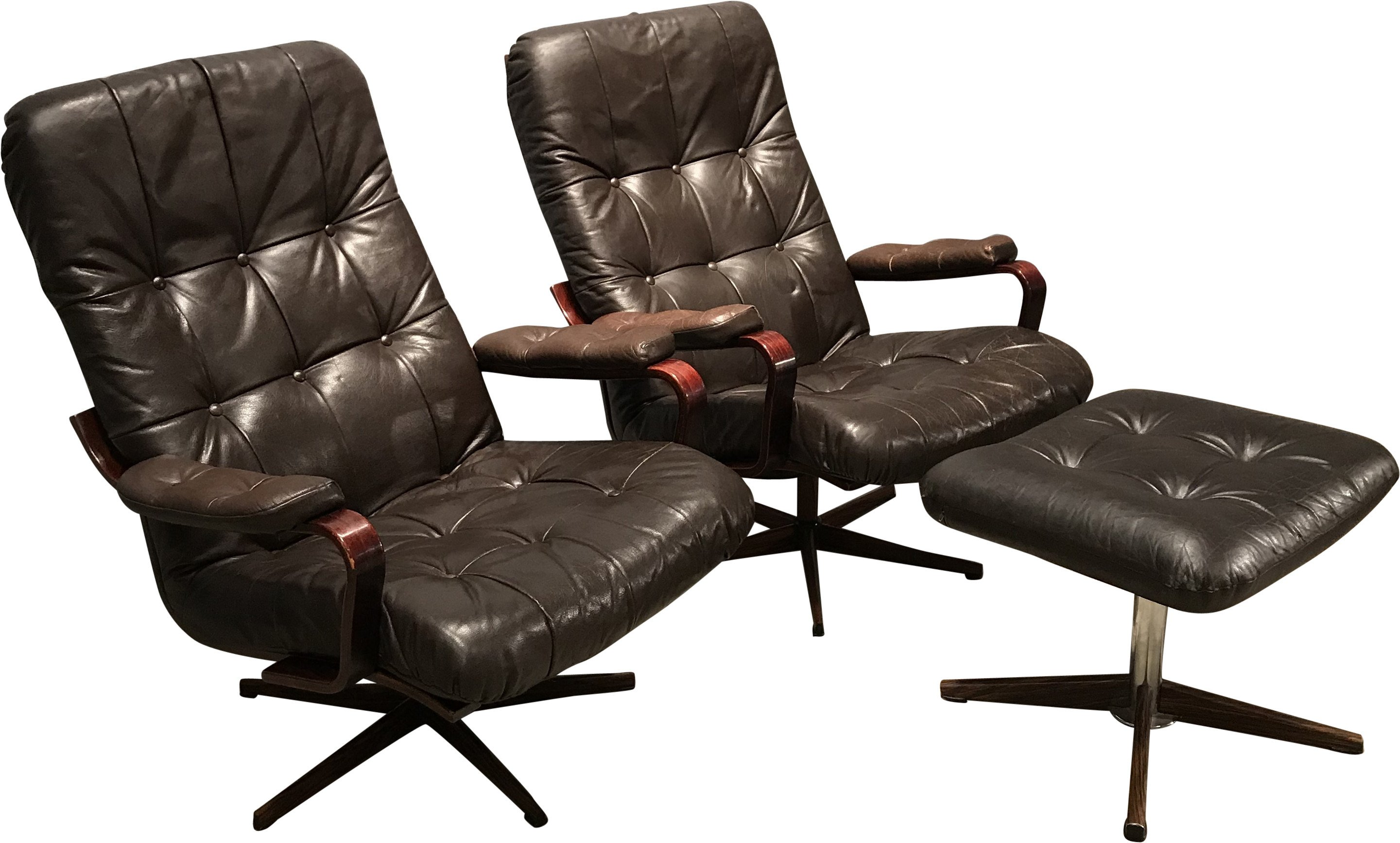 Pair Leather Armchairs with Footstool, Sweden, 1980s