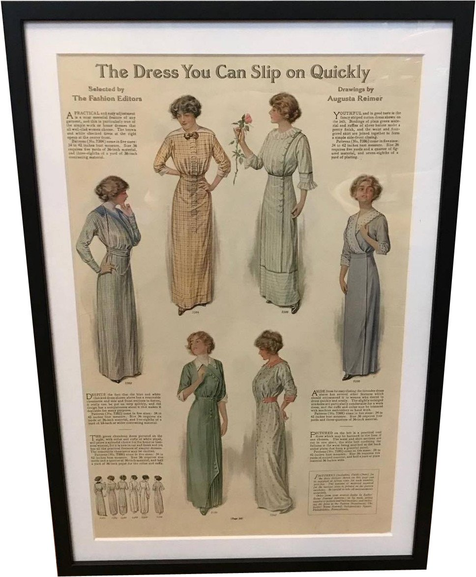 Framed Fashion Illustration, 1917