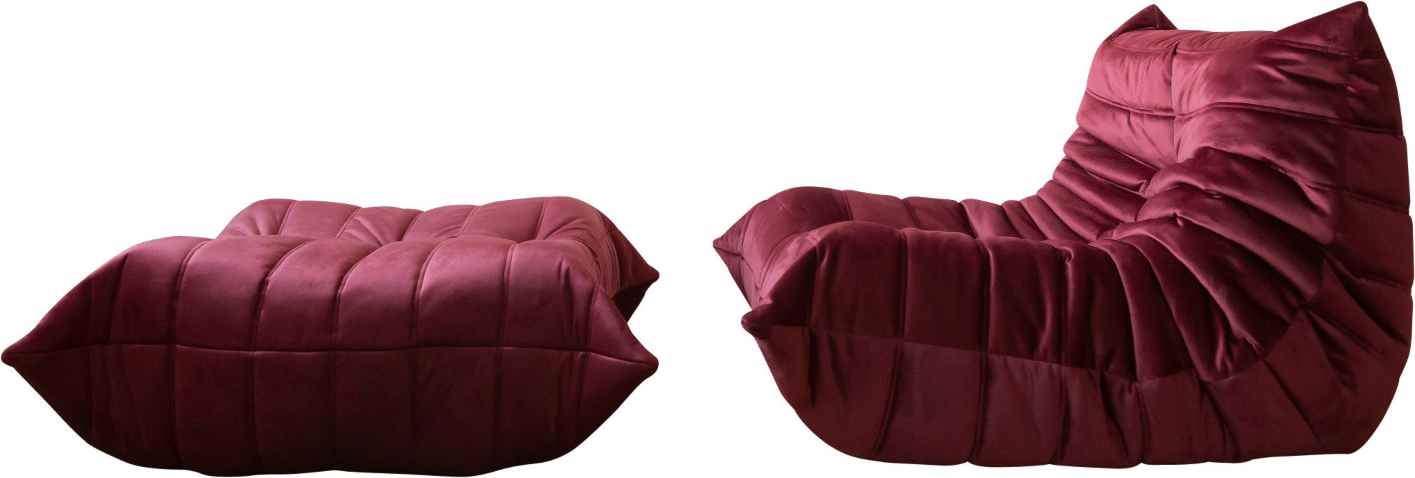 Togo Set of Armchair and Pouf by M. Ducaroy Manufactured, Ligne Roset, France, 1974