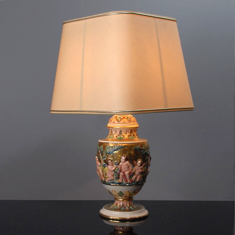 Ceramic Table Lamp, Saca Castelli, Capodimonte, Italy, 1930s