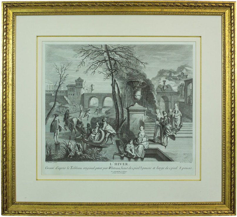 Graphic Winter by A. Watteau, Engraver by N. Larmessin, France, 18th C.