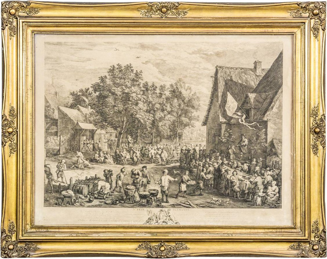 Print Flemish Holiday by D. Teniers, 18th C.