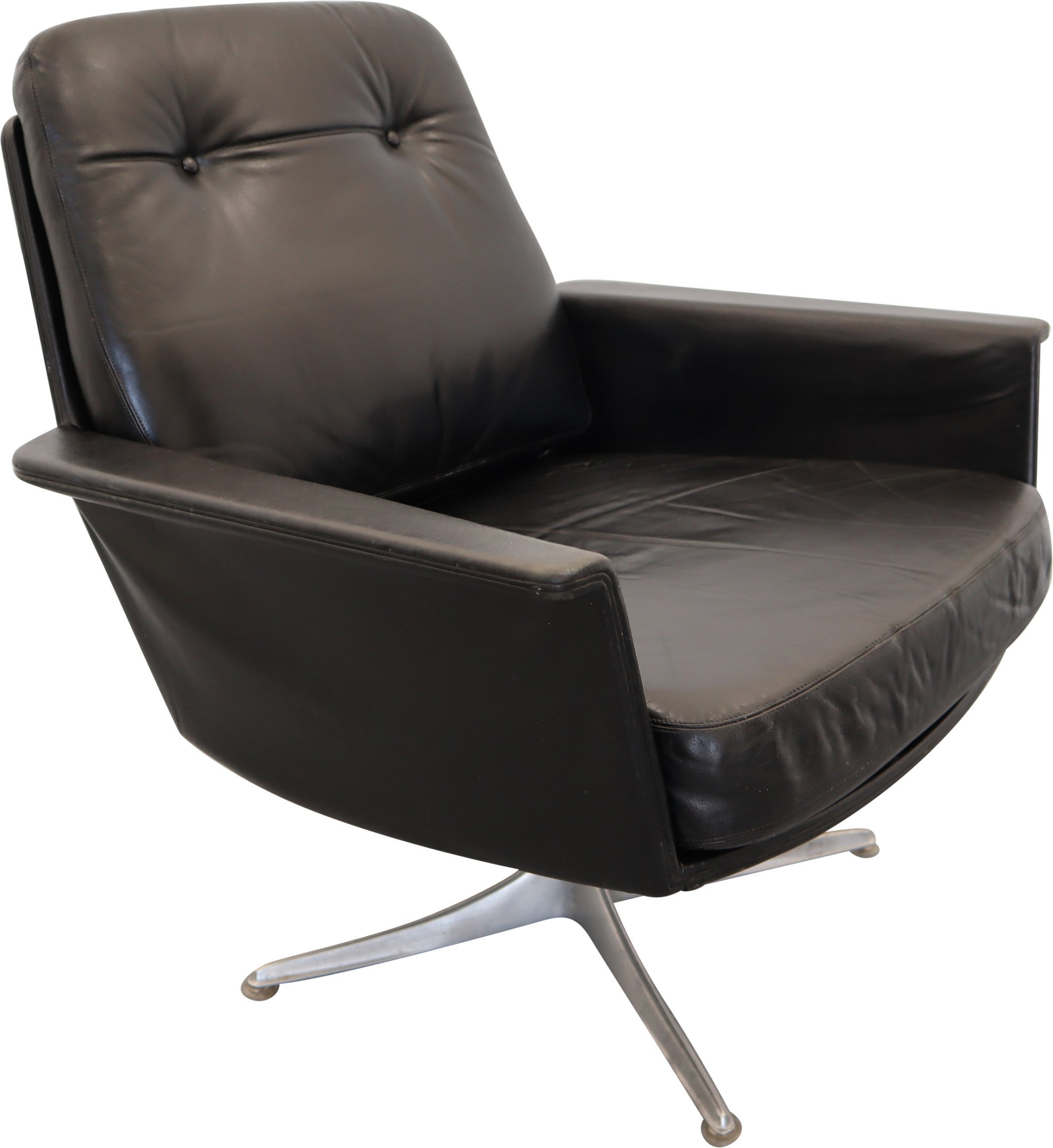 Sedia Leather Swivel Armchair by H. Brüning, COR, Germany, 1960s