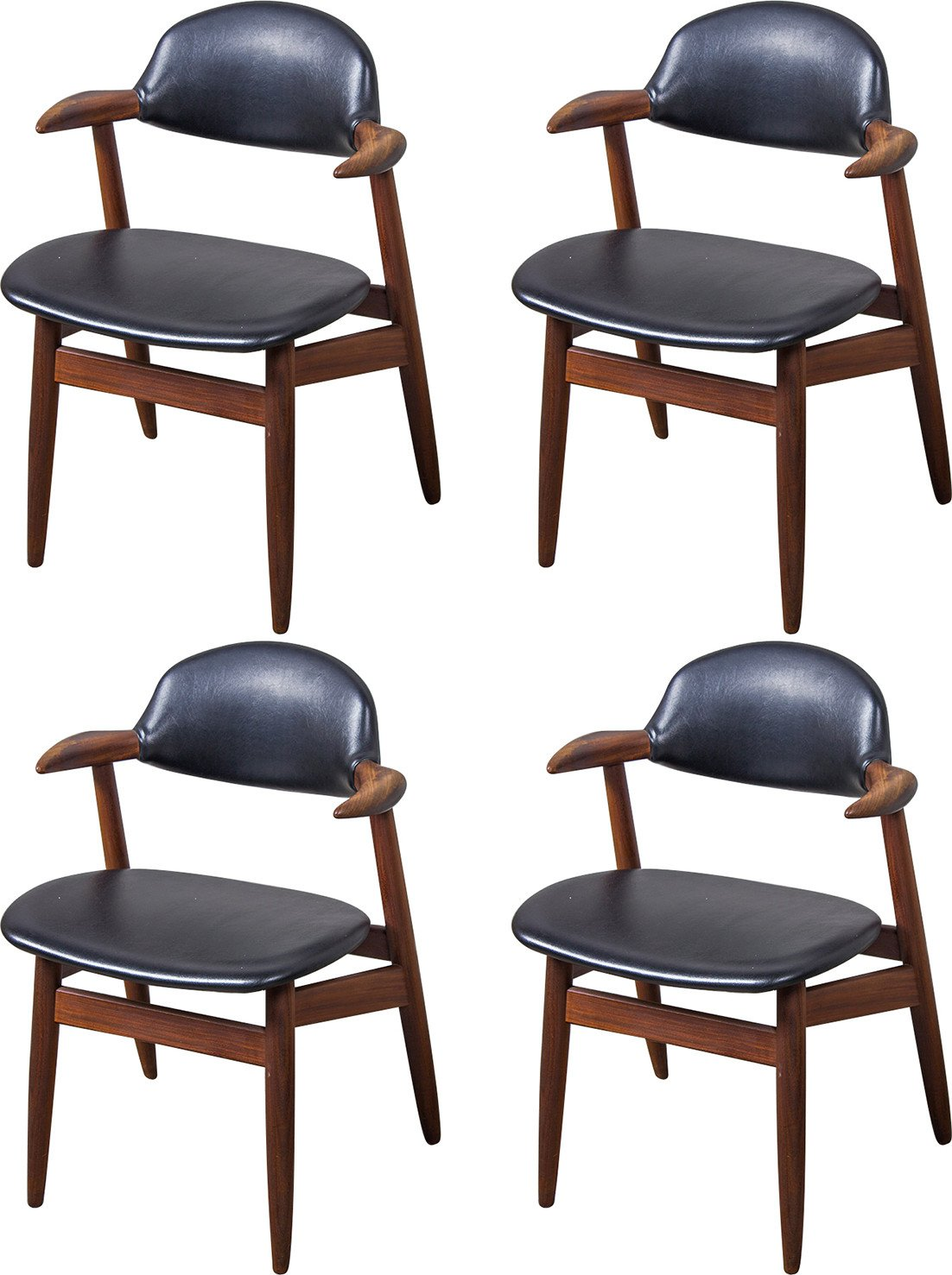 Set of Four Cowhorn Chairs, Tijsseling, Netherlands, 1950s