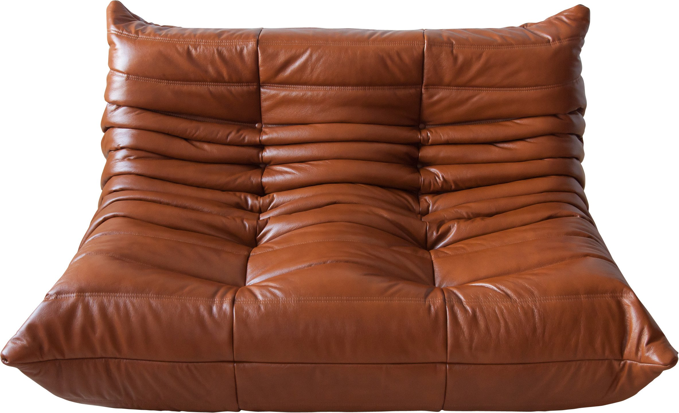 Togo Two-Seat Sofa in Whiskey Brown Leather by M. Ducaroy, Ligne Roset, France, 1970s