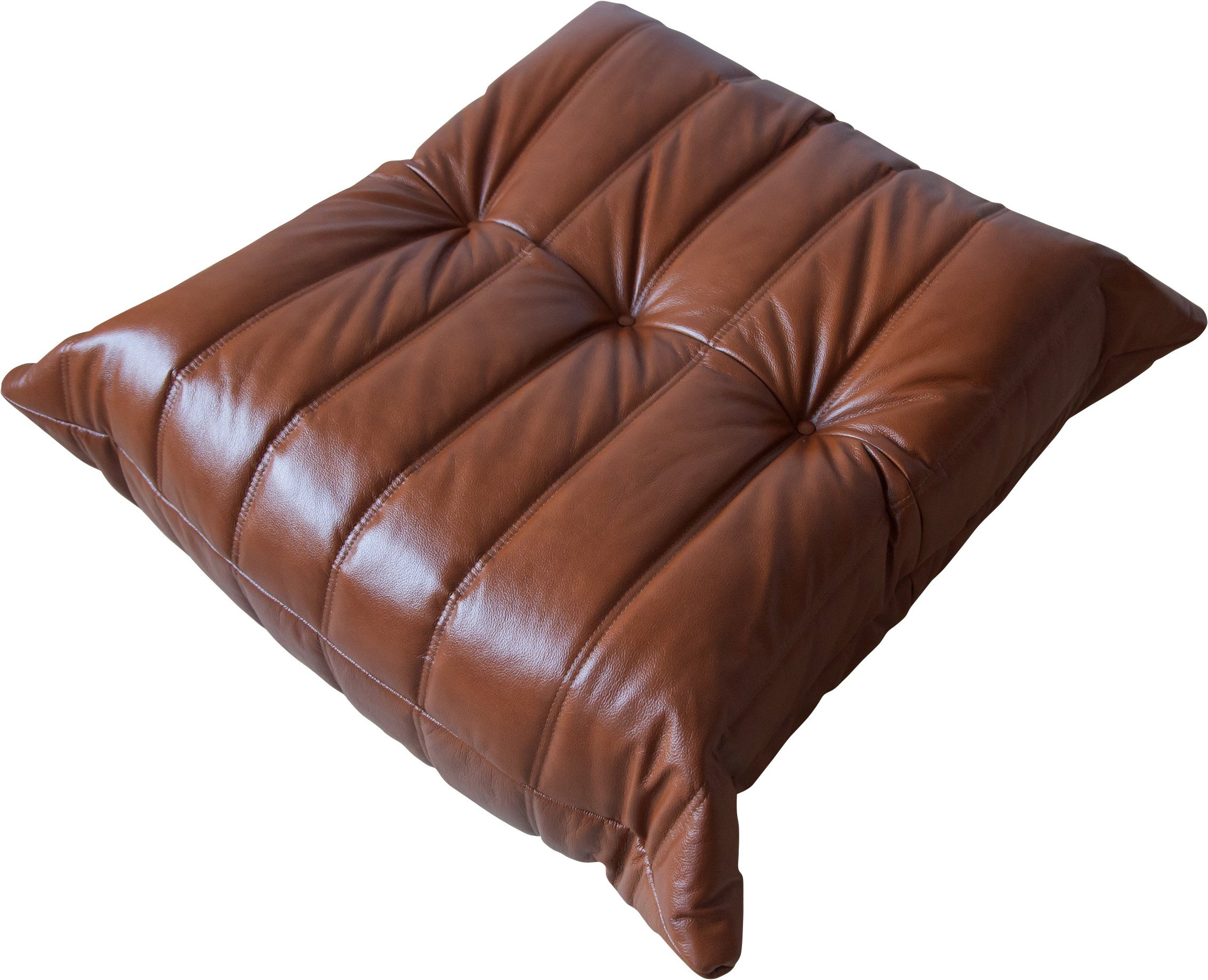 Togo Pouf in Whiskey Brown Leather by M. Ducaroy, Ligne Roset, 1970s