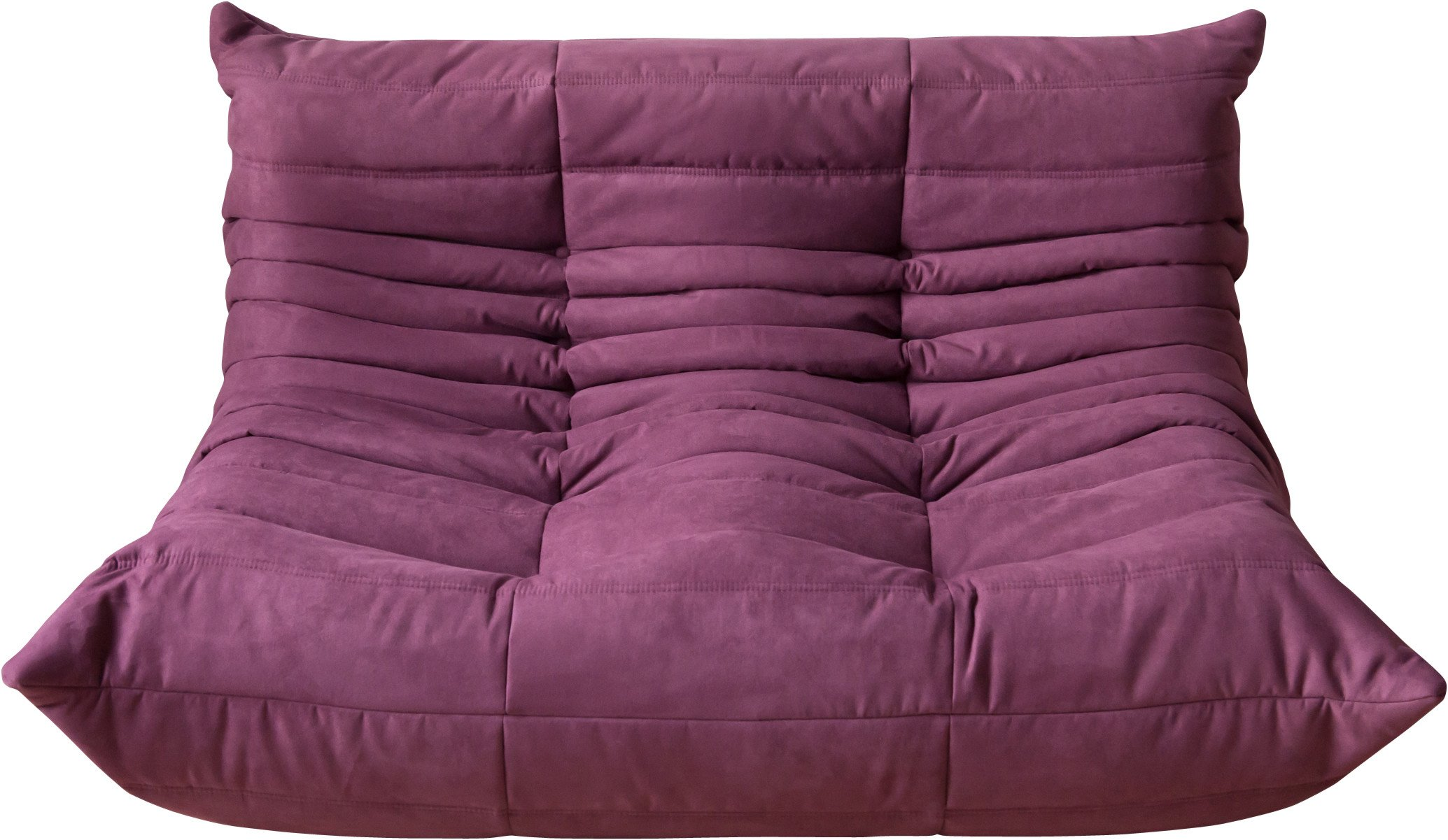 Togo Two-Seat Sofa in Aubergine Microfiber by M. Ducaroy, Ligne Roset, France, 1970s
