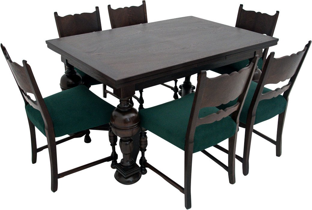 Set of Table and Six Chairs, early 20th C.