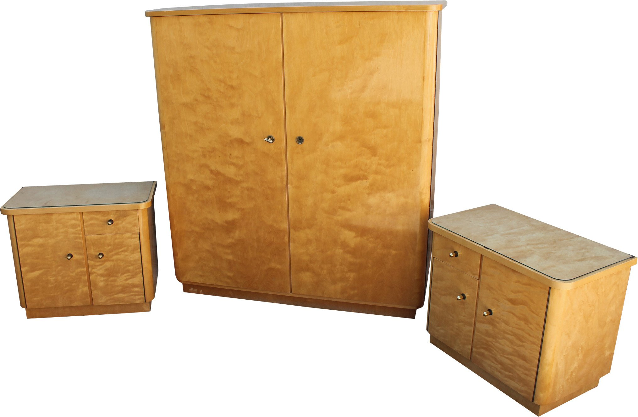 Set of Wardrobe and Two Nightstands, Germany, 1960s