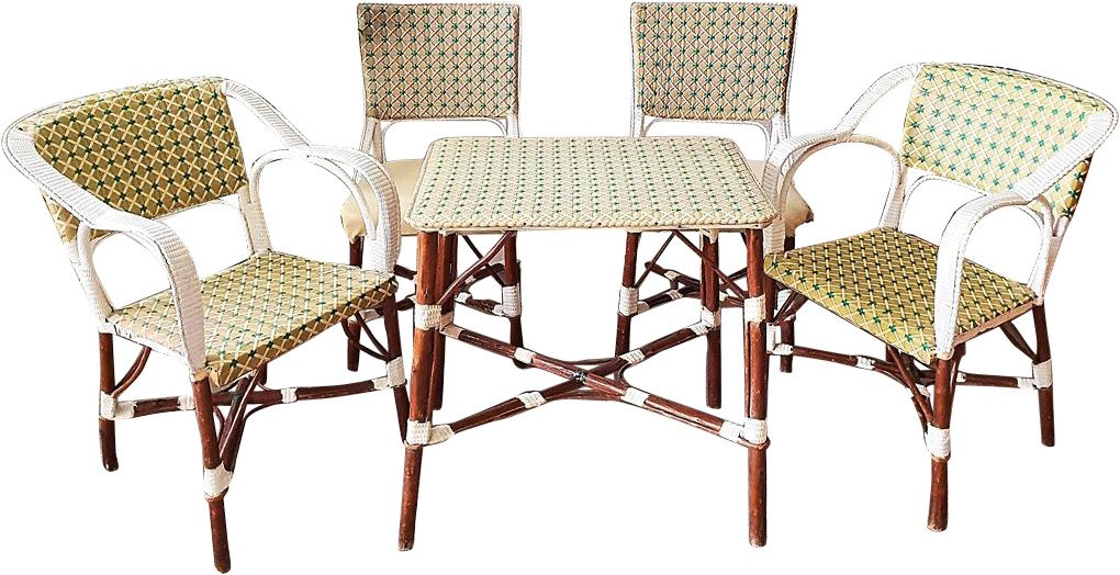 Set table, two chairs and two armchairs, France, 70s.