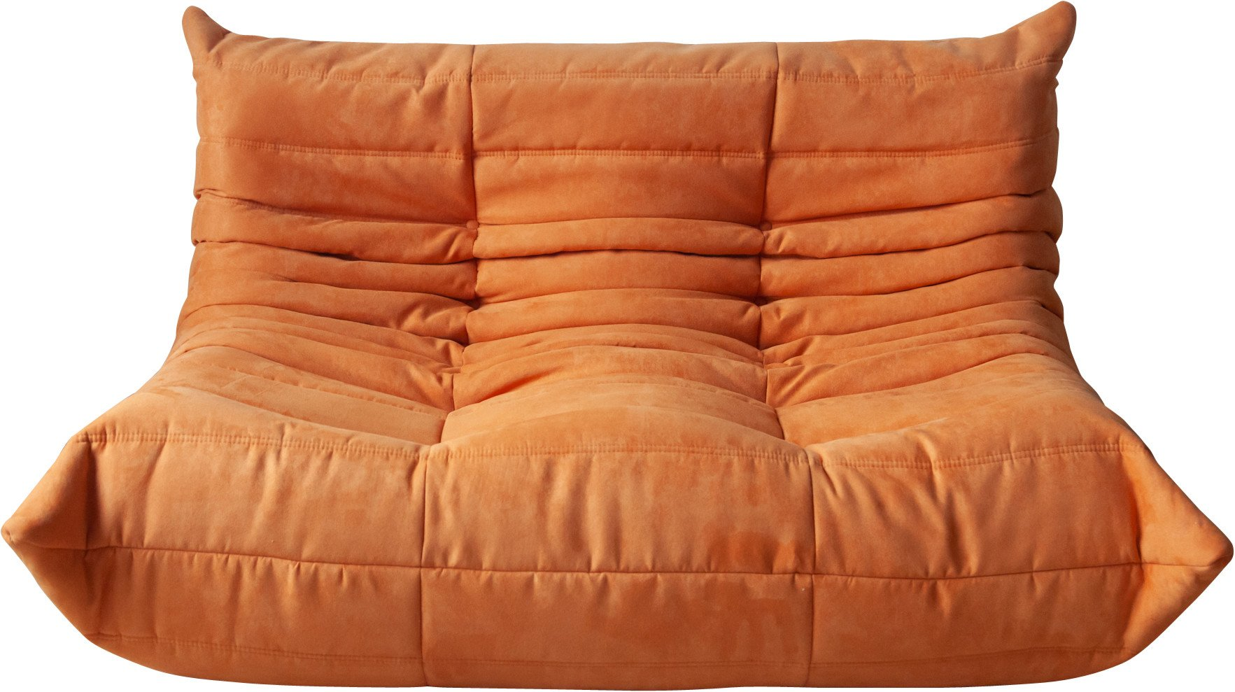 Togo Two-Seat Sofa in Orange Microfiber by M. Ducaroy, Ligne Roset, France, 1970s