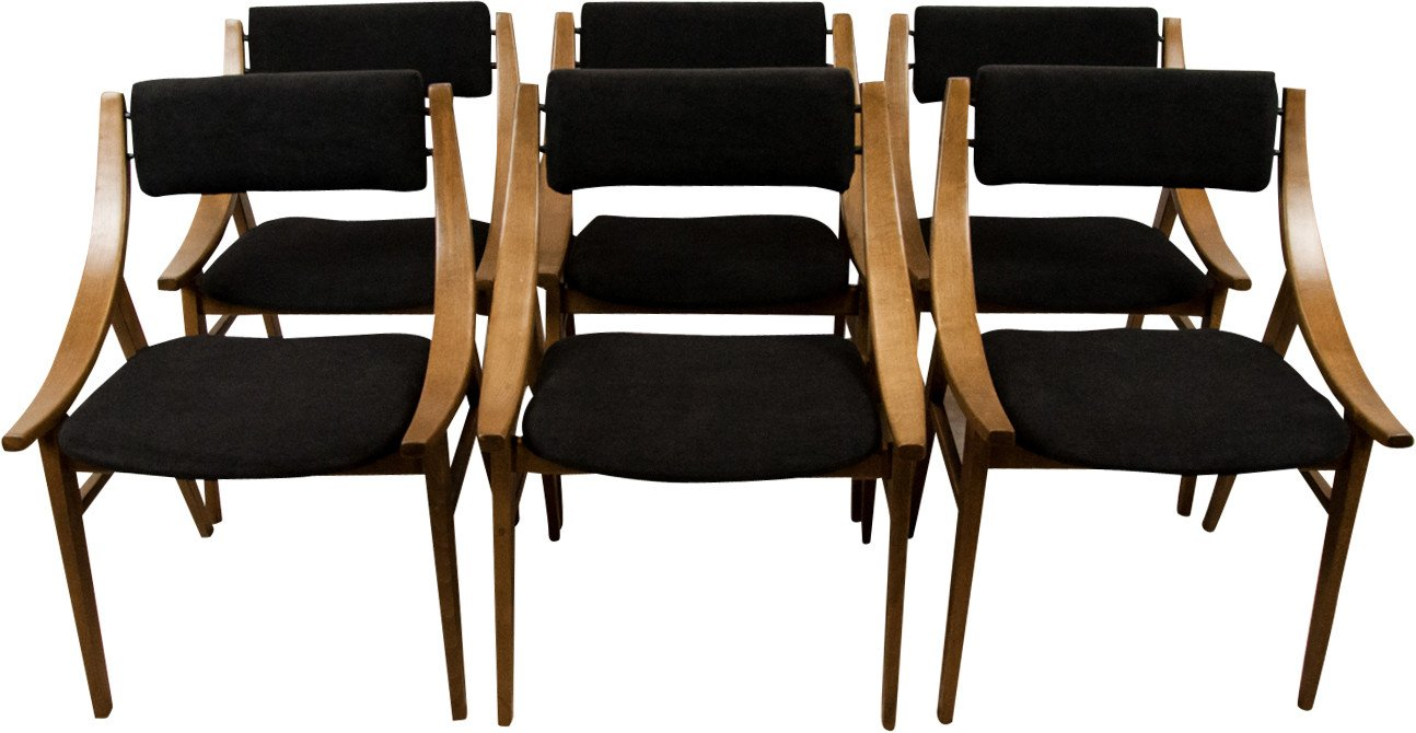 Set of Six Jumper Chairs, Zamojska Fabryka Mebli, Poland, 1970s