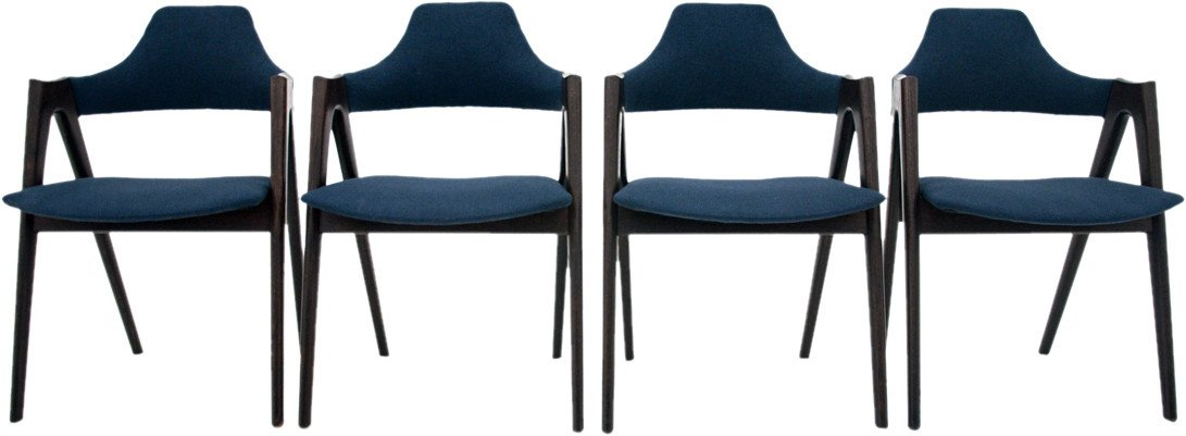 Set of Four Compass Chairs by K. Kristiansen, Denmark, 1960s