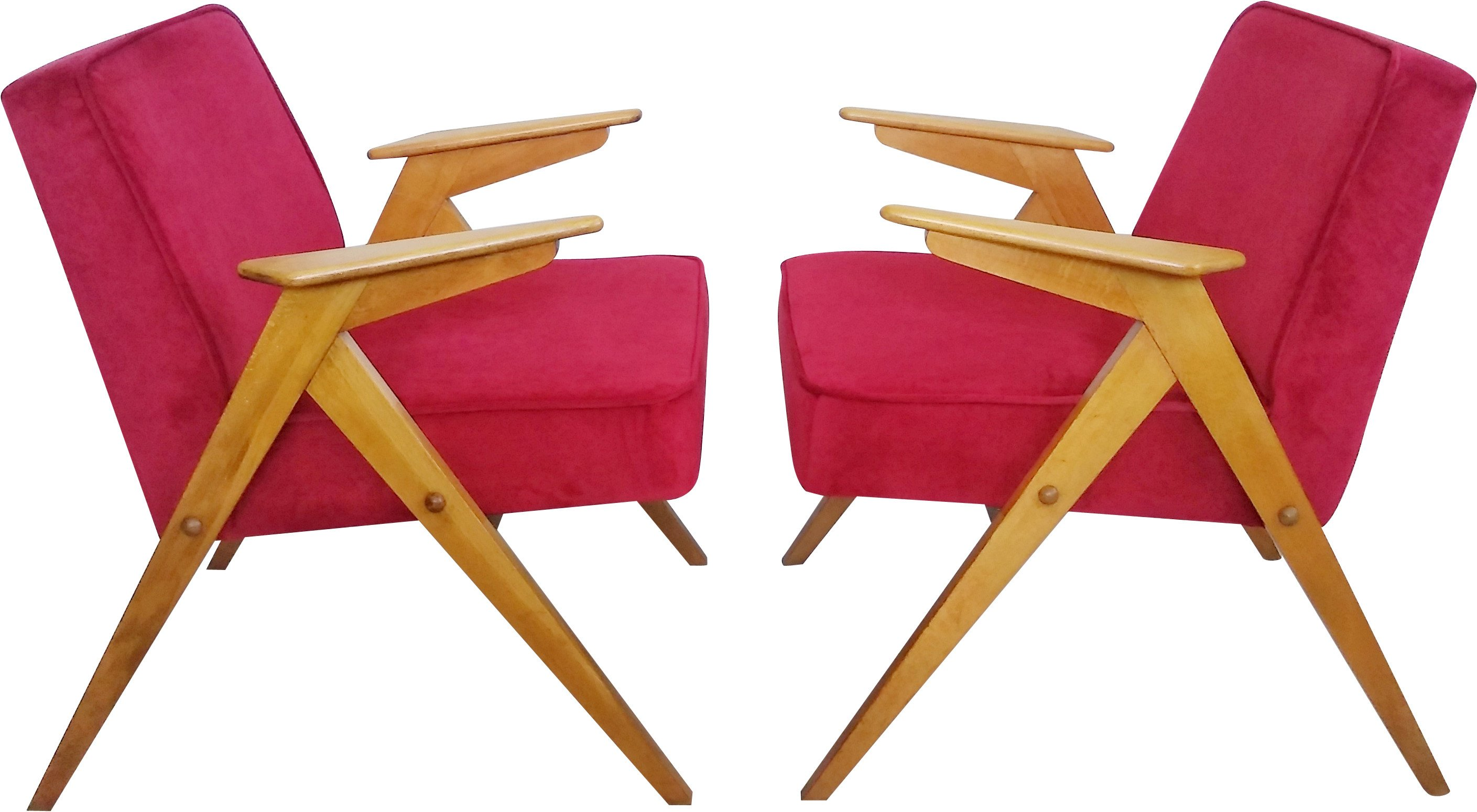 Pair of Bunny Armchairs by J. Chierowski, Poland, 1970s
