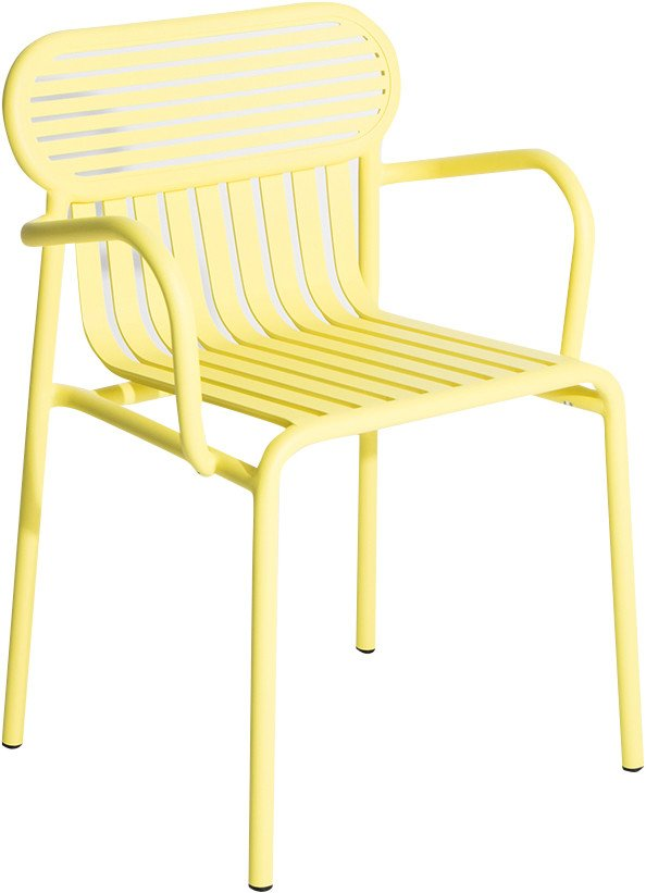 Yellow Week-end Garden Chair with Armrests by Brichet-Ziegler for Petite Friture