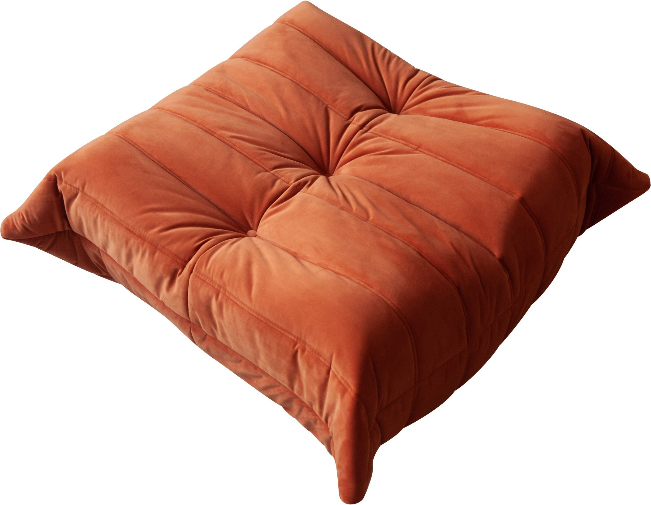 Velvet Orange Togo Pouf by M. Ducaroy of Ligne Roset, France, 1970s