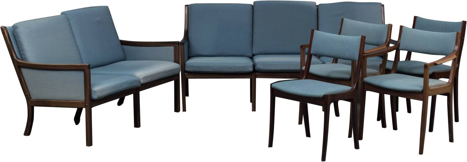 Set of Two Sofas, Two Armchairs, Two Chairs by O. Wanscher, Denmark, 1950s