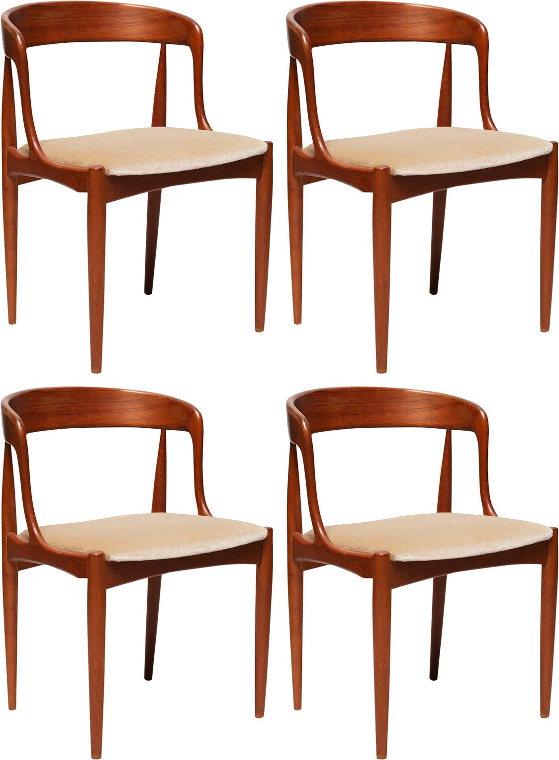 Set of Four Chairs by K. Kristiansen, Schou Andersen, Denmark, 1960s
