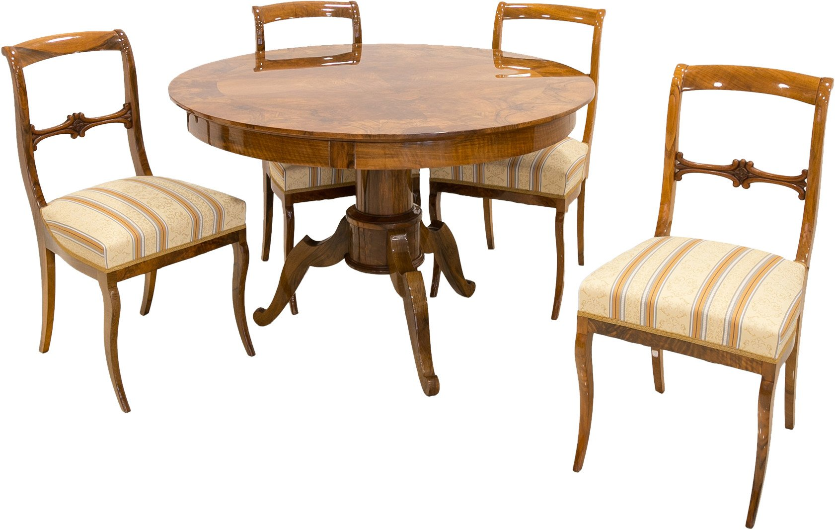 Set of Table with Four Chairs, Germany, 1st half 19th C.