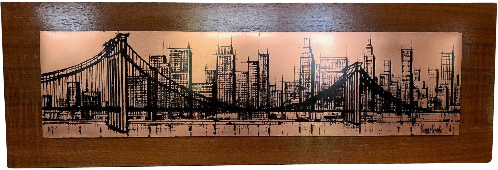 Manhattan on Copper Plate by R. Povolo, 1970s