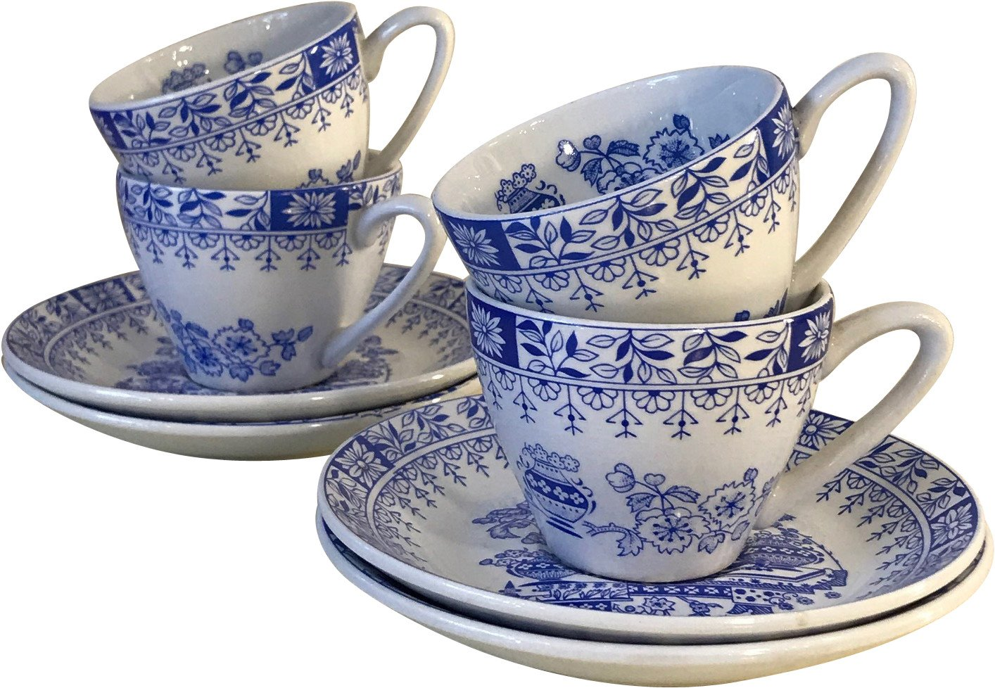 Set of Four Cups and Plates, Pontesa, Spain, 1970s