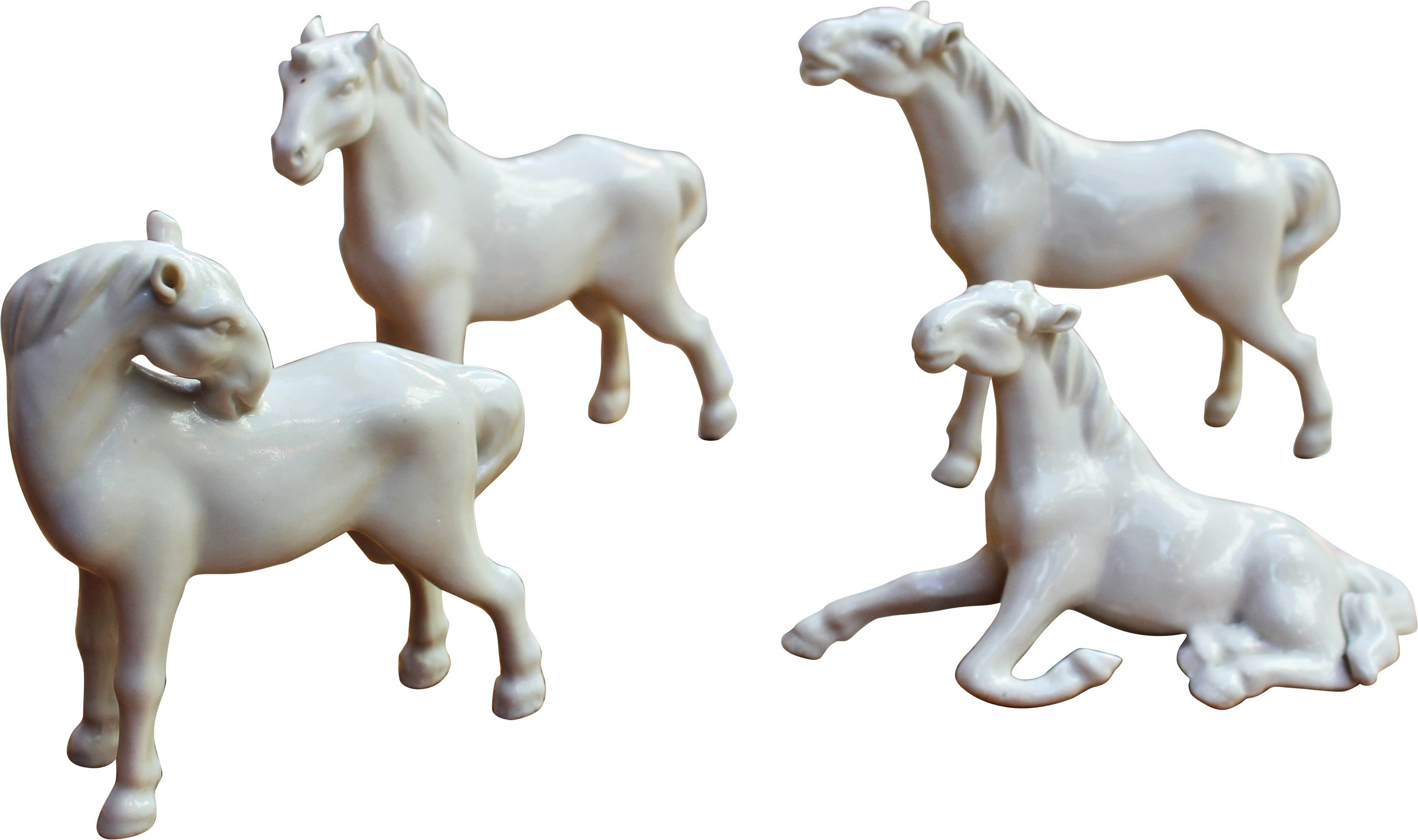 Set of Four Figures of Porcelain Horses, Spain, 1960s